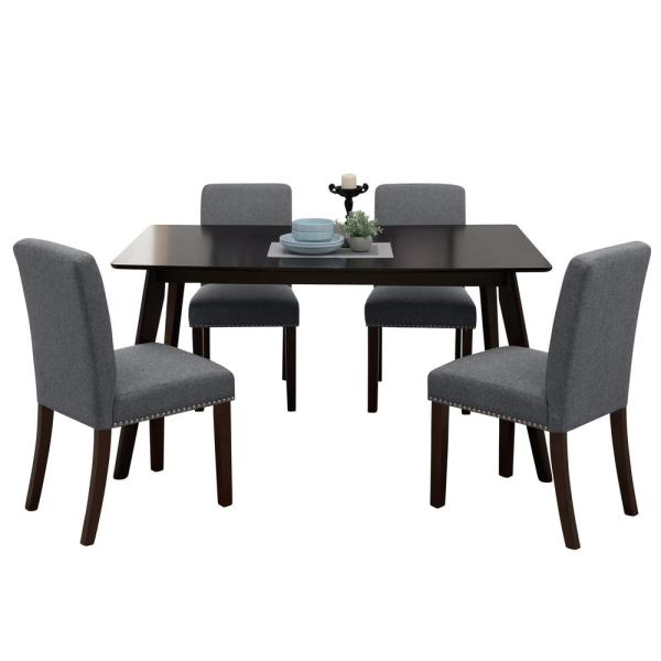 Handy Living Verri 5-Piece Charcoal Gray Linen Rectangle Table and Armless