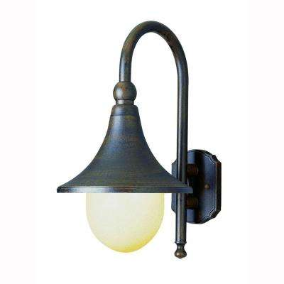 Pier Hook 1-Light Rust Outdoor Coach Lantern with Opal Polycarbonate Shade