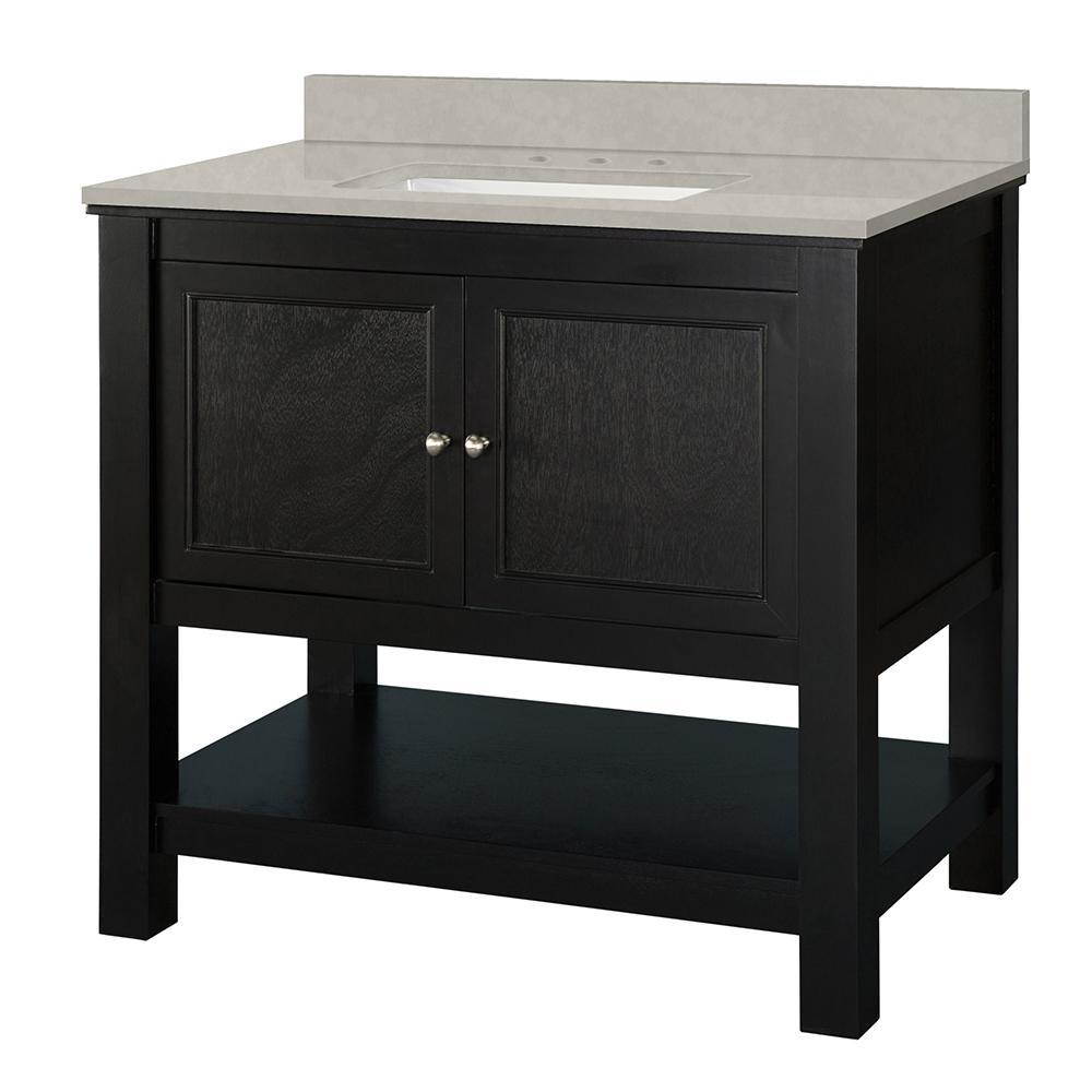 Home Decorators Collection Gazette 37 in. W x 22 in. D Vanity Cabinet in Espresso with Engineered Vanity in Dunescape with White Sink