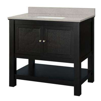 Gazette 37 in. W x 22 in. D Vanity Cabinet in Espresso with Engineered Vanity in Dunescape with White Sink