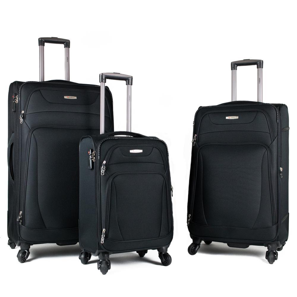 AMKA Phalanx 3-Piece Black Expandable Spinner Luggage Set AM2016/3E-BLK
