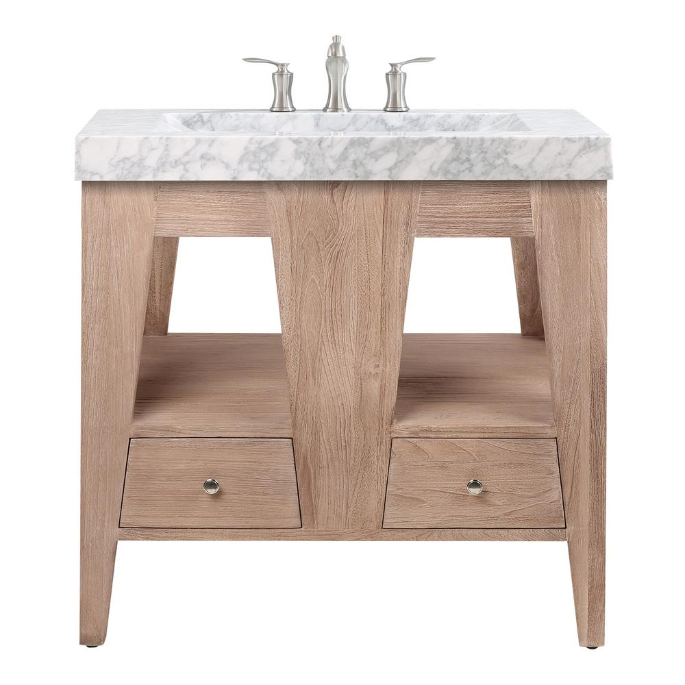 Avanity Jameston 33 in. Vanity in Rustic Teak with Carrara Basin Marble Top