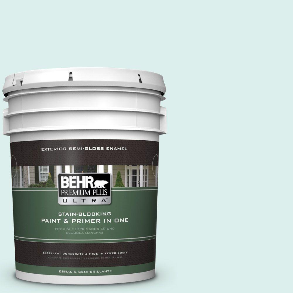 BEHR Premium Plus Ultra 5-gal. #490C-1 Ice Cube Semi-Gloss Enamel Exterior Paint