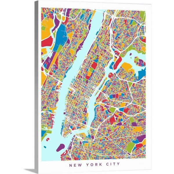 street art nyc map Greatbigcanvas 18 In X 24 In New York City Street Map By