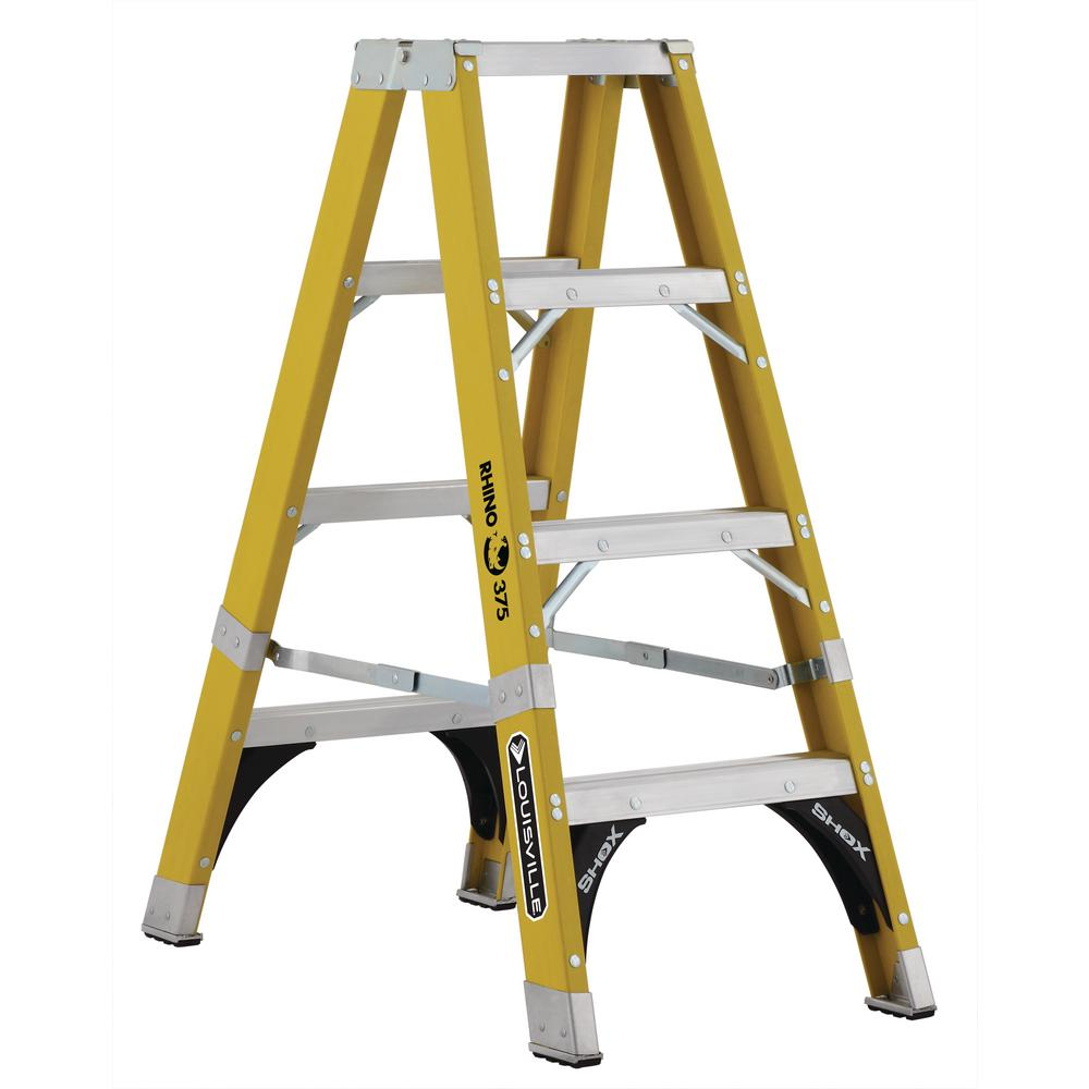 4 ft. Fiberglass Twin Step Ladder with 375 lbs. Load Capacity