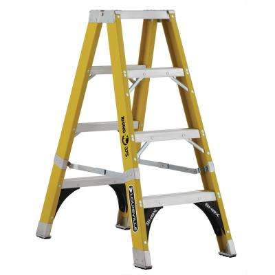 4 ft. Fiberglass Twin Step Ladder with 375 lbs. Load Capacity Type IAA Duty Rating