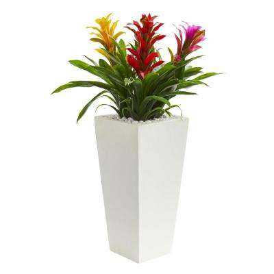 Triple Assorted Bromeliad Artificial Plant in White Tower Planter