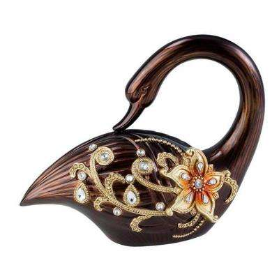 9.5 in. Flower Accent Laurel Topaz Swan Decorative Sculpture in Golden Brown