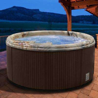 5-Person 11-Jet Premium Acrylic Round Tuscan Sun Spa Hot Tub with Multi Color Spa Light