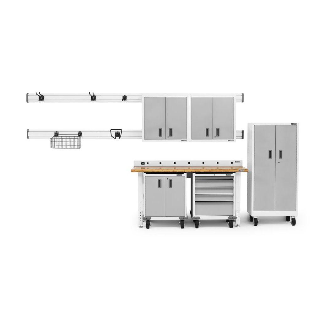 Gladiator Premier Series 90 in. H x 102 in. W x 25 in. D Steel Garage Cabinet and Wall Storage System in White (14-Pieces)