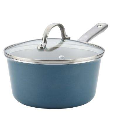 Home Collection 3 Qt. Porcelain Enamel Nonstick Covered Saucepan in Twilight Teal
