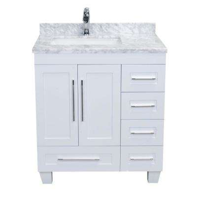 Loon 30.50 in. W x 22 in. D x 34 in. H Vanity in White with Carrera Marble Vanity Top in White with White Basin