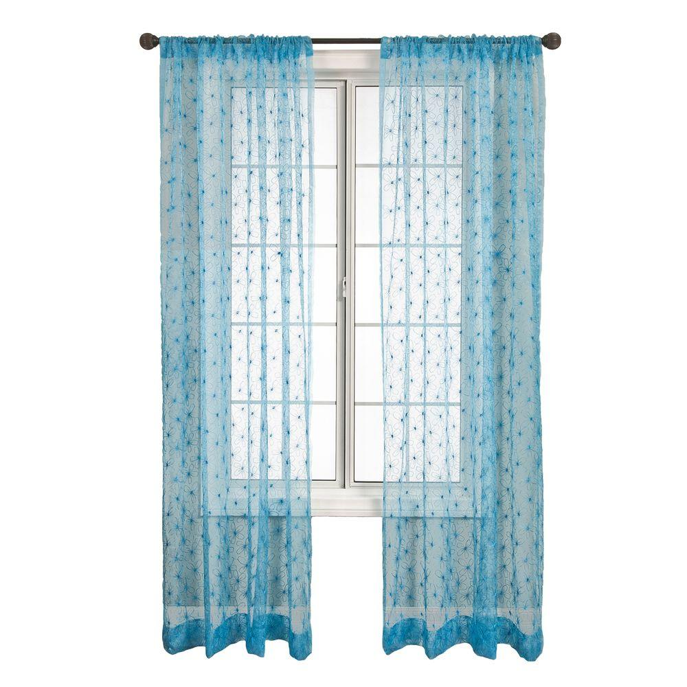 Home Decorators Collection Sheer Blue Fantasia Rod Pocket Curtain - 54 in.W x 96 in. L
