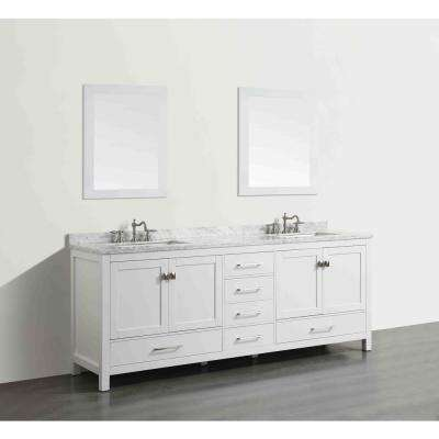 Aberdeen 83.3 in. W x 22 in. D x 35 in. H Vanity in White with Carrara Marble Vanity Top in White with White Basin