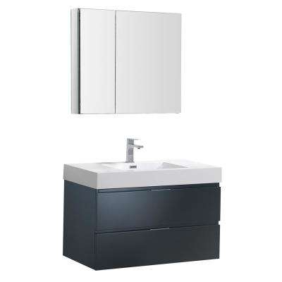 Valencia 36 in. W Wall Hung Vanity in Dark Slate Gray with Acrylic Vanity Top in White with White Basin,Medicine Cabinet