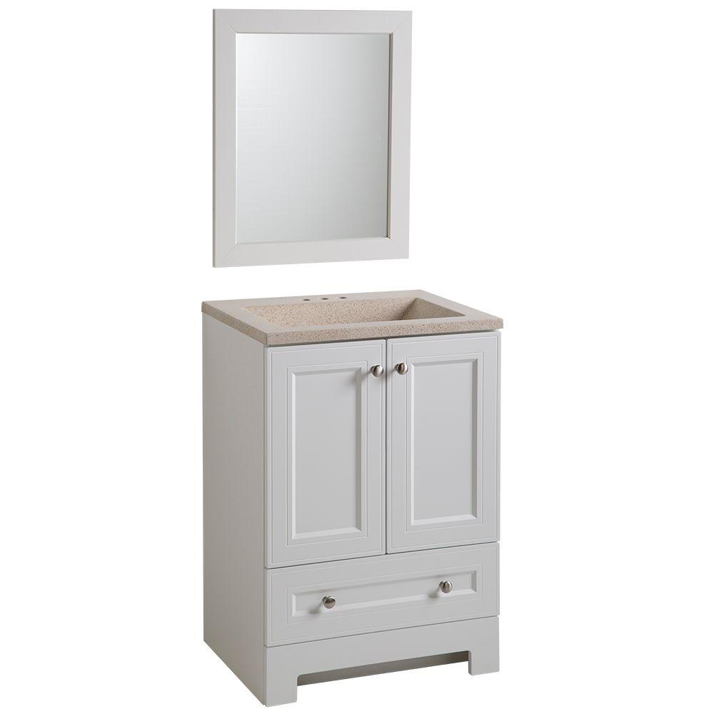 Vanity in White with Vanity Top in Maui. Gray   Vanities with Tops   Bathroom Vanities   The Home Depot