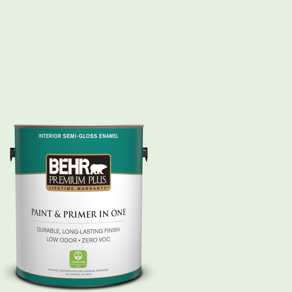 BEHR Premium Plus 1-gal. #440A-2 Sea Cap Zero VOC Semi-Gloss Enamel Interior Paint