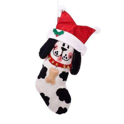 22 in. Polyester/Acrylic Hooked 3D Dog Christmas Stocking