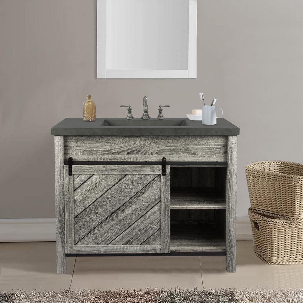Lennox 42 In W X 21 D Bath Vanity Gray Wood Grain With Faux Cement Top Grey Basin