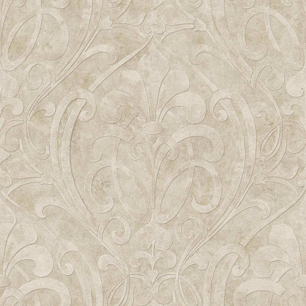Zoe Champagne Coco Damask Wallpaper Sample