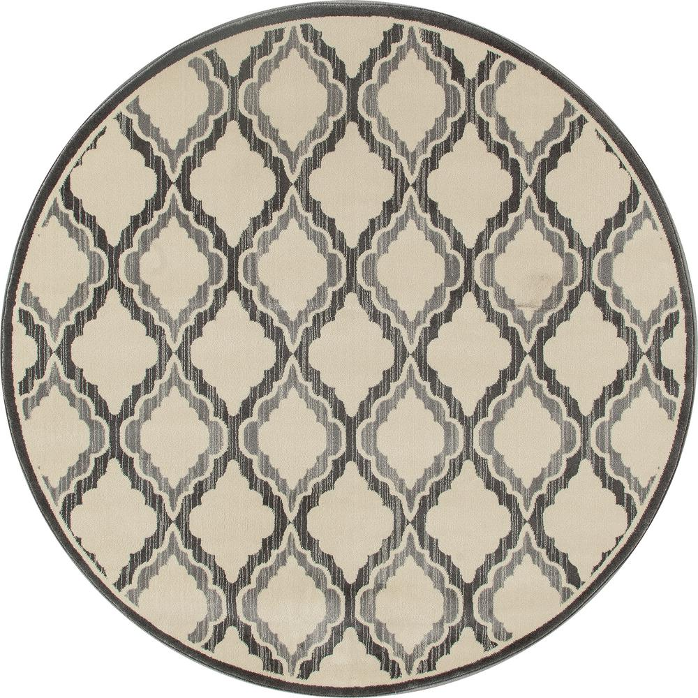 Milan Hopscotch Gray 7 ft. 10 in. x 7 ft. 10 in. Round Ar...
