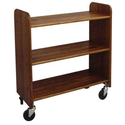 14 in. Oak Book Truck