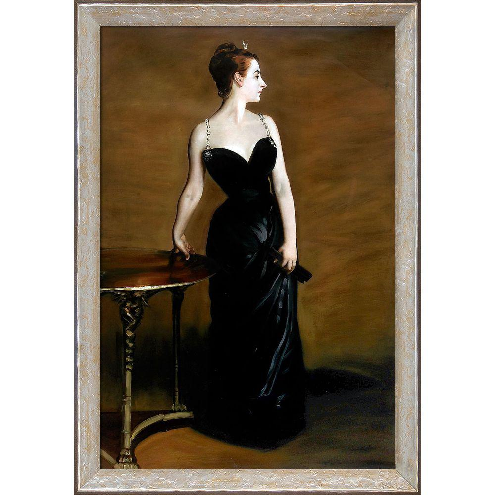LA PASTICHE Portrait of Madame X with Silver Luna Frameby John Singer Sargent Oil Painting, Multi-Colored was $1222.0 now $594.06 (51.0% off)