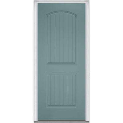 36 in. x 80 in. Right-Hand Inswing 2-Panel Archtop Planked Classic Painted Fiberglass Smooth Prehung Front Door