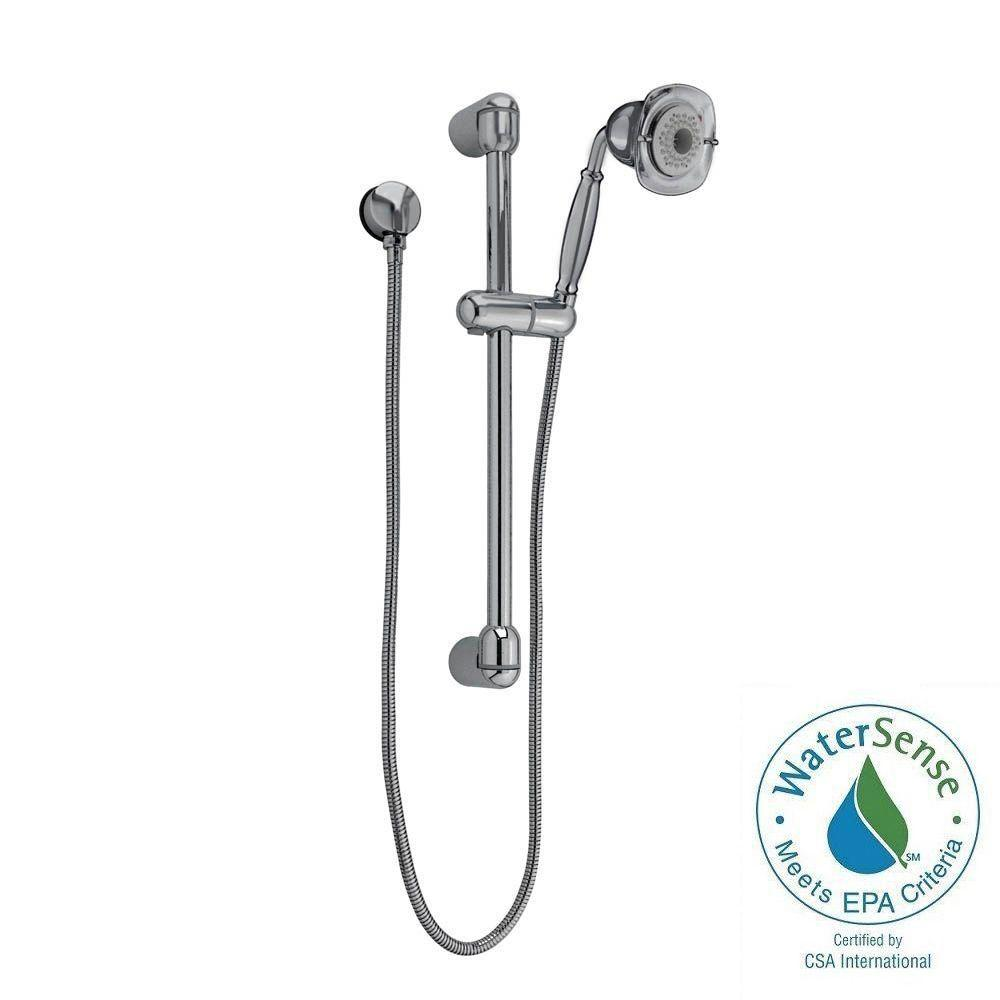 American Standard FloWise Square Transitional 3-Spray Wall Bar Shower Kit in Brushed Nickel