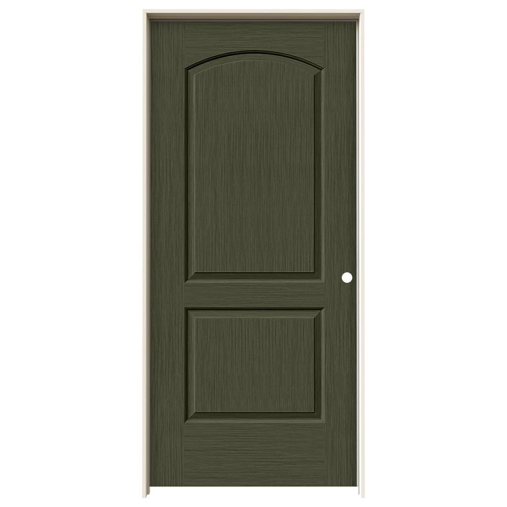 36 in. x 80 in. Continental Juniper Stain Left-Hand Solid Core Molded Composite MDF Single Prehung Interior Door