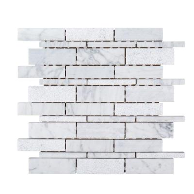 Restful Sea White 10.5 in. x 10.5 in. x 8 mm Interlocking Textured Marble Wall and Floor Mosaic Tile