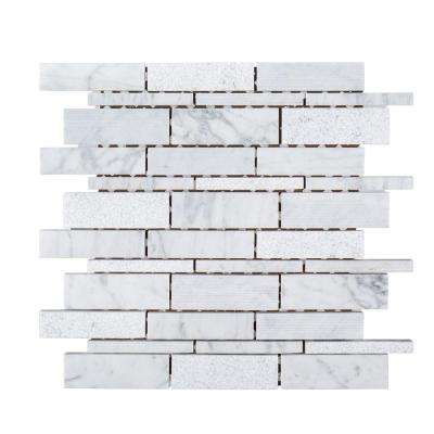 Restful Sea 10-1/2 in. x 10-1/2 in. x 8 mm Marble Mosaic Tile