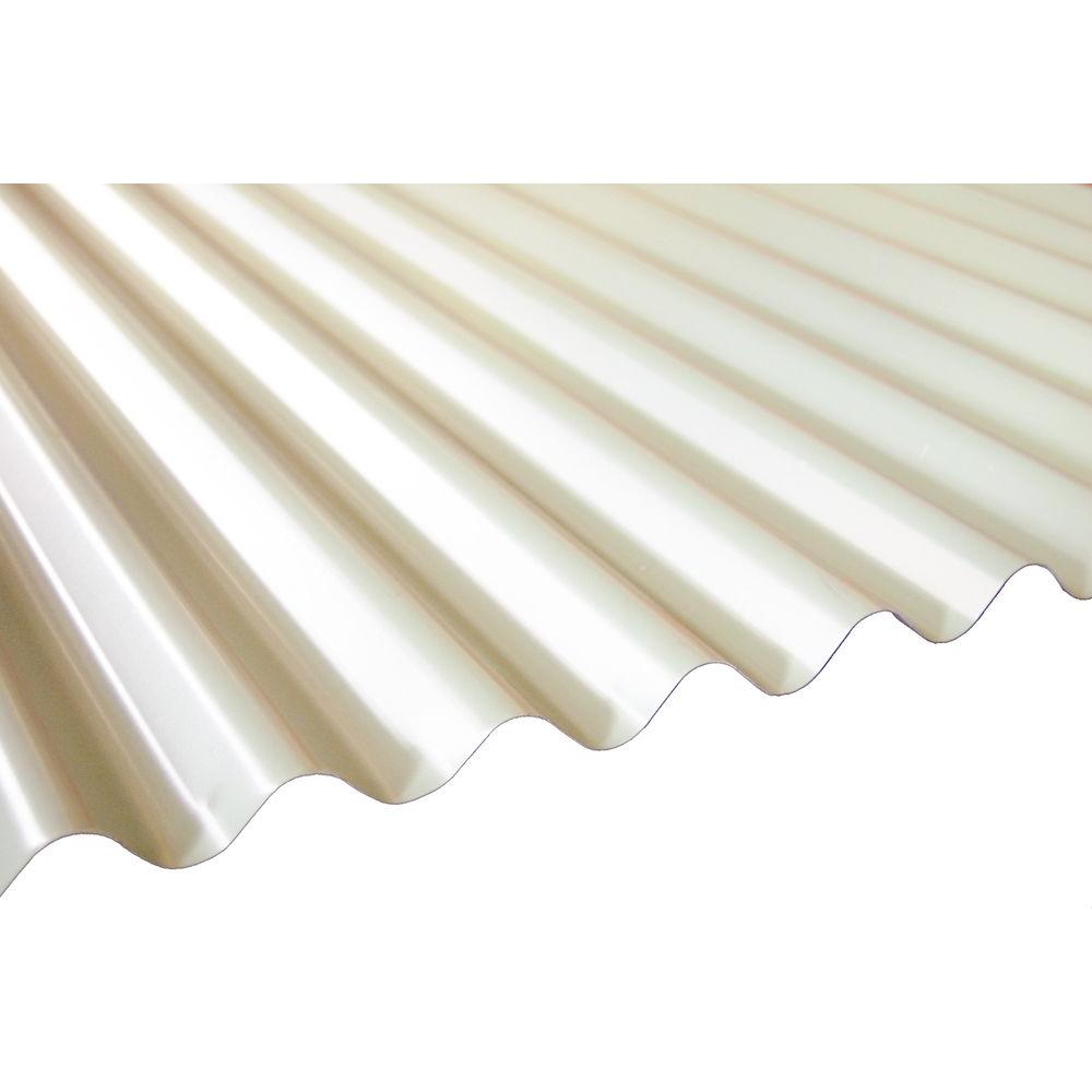 16 Ft. Milk White Deep Corrugated Steel Roof Panel RF/DC26/MKW/192   The Home  Depot