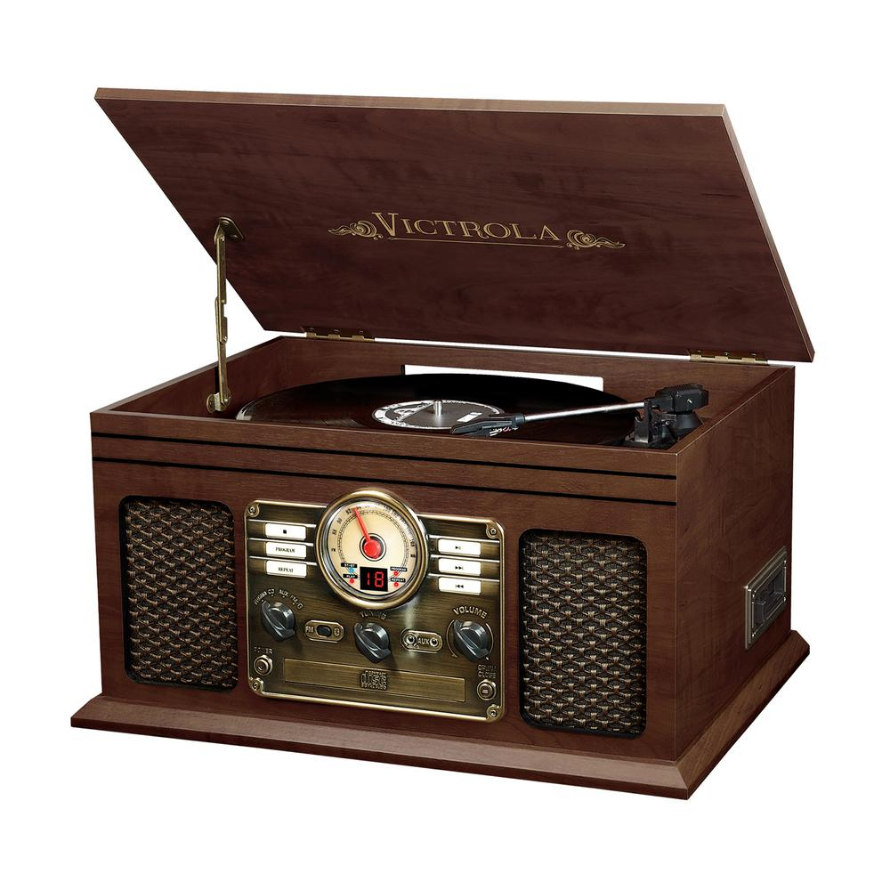 Victrola 6 In 1 Nostalgic Bluetooth Record Player With 3 Speed Turntable In