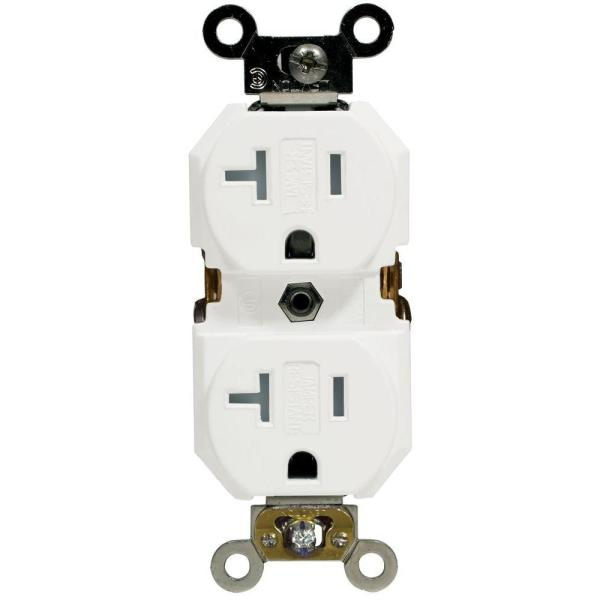 20 Amp Industrial Specification Grade Weather/Tamper Resistant Self Grounding Duplex Outlet, White