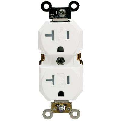 20 Amp Industrial Grade Weather/Tamper Resistant Self Grounding Duplex Outlet, White