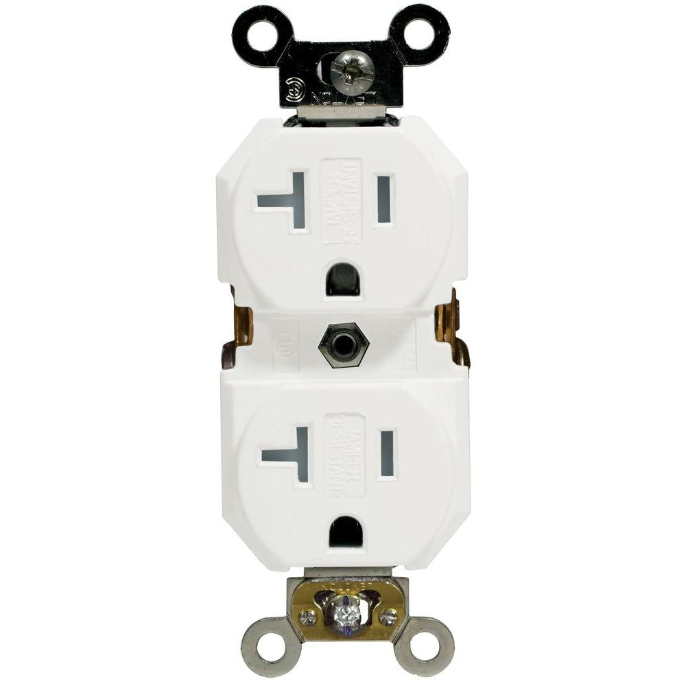 white leviton outlets receptacles r57 twr20 00w 64_1000 leviton 20 amp commercial grade double pole single outlet, white  at reclaimingppi.co