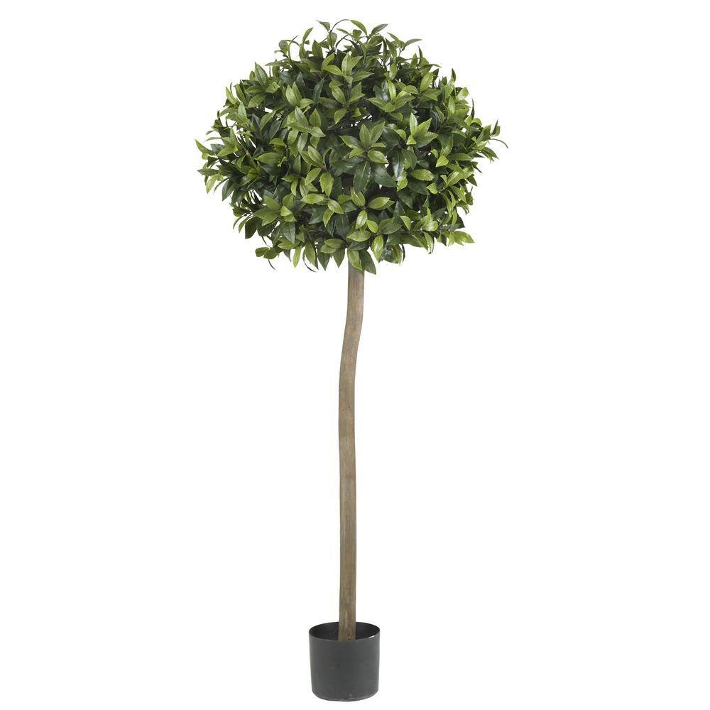 Nearly Natural 5 ft. Green Sweet Bay Ball Topiary Silk Tree