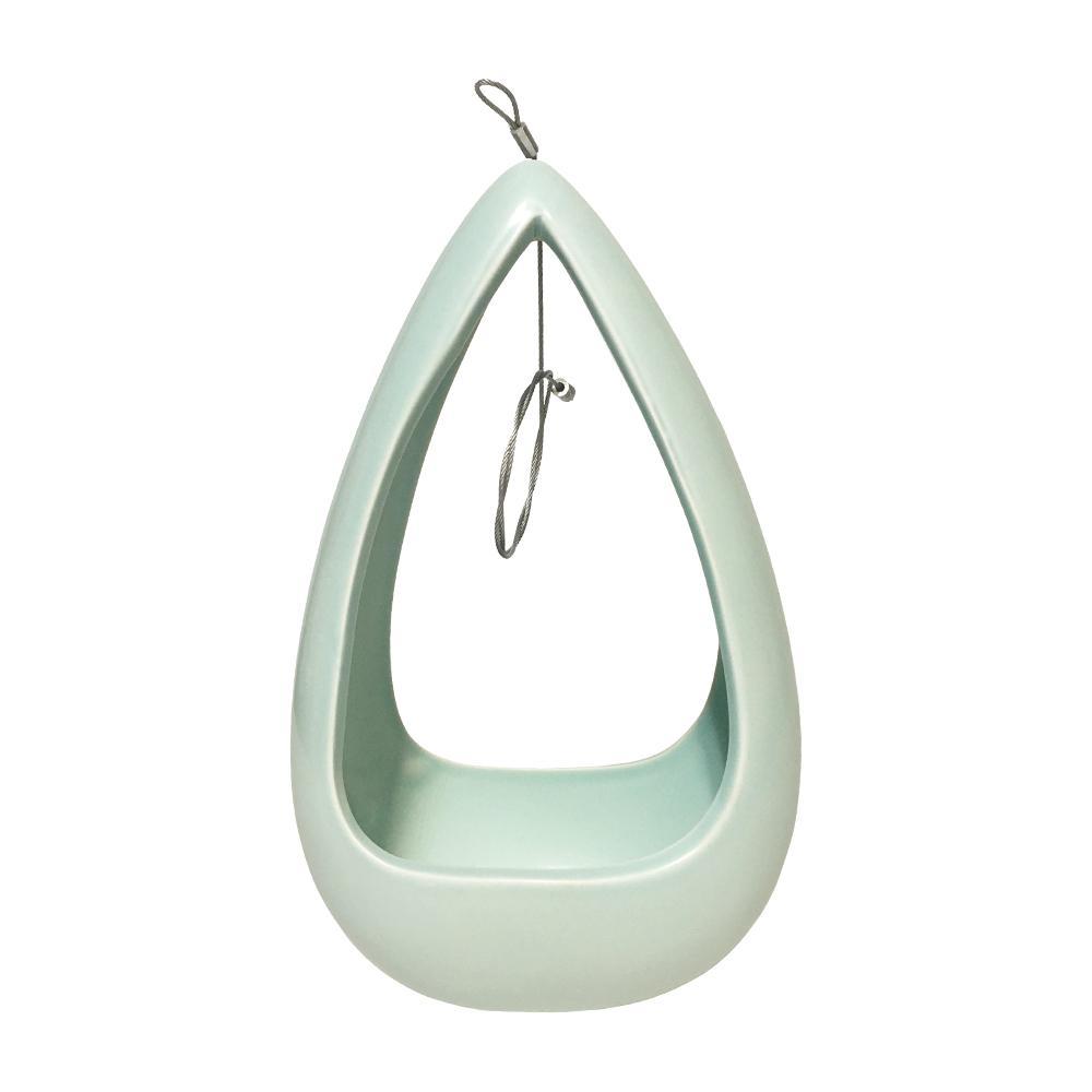 Cone 8-1/2 in. x 5-1/4 in. Mint Ceramic Hanging Planter