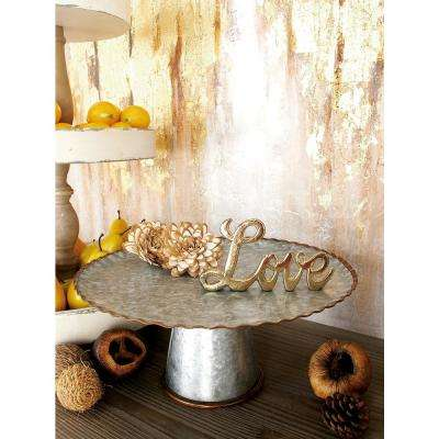 Round Gray Iron Cake Stands with Copper Scalloped Edges (Set of 3)