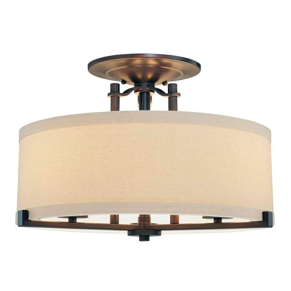 Minka Lavery Ansmith 3-Light Aged Kinston Bronze Semi-Flush Mount Light