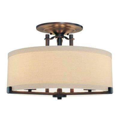 Ansmith 3-Light Aged Kinston Bronze Semi-Flush Mount Light