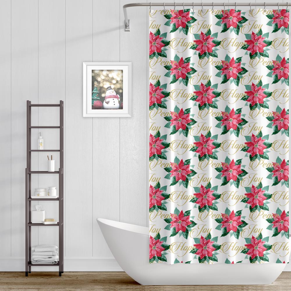 Joy Noel 13 Piece Holiday Peace Poinsettia Shower Curtain And Hooks Set