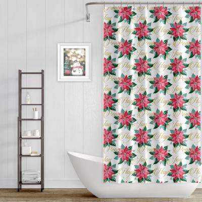 13-Piece Holiday Peace Poinsettia Shower Curtain and Hooks Set