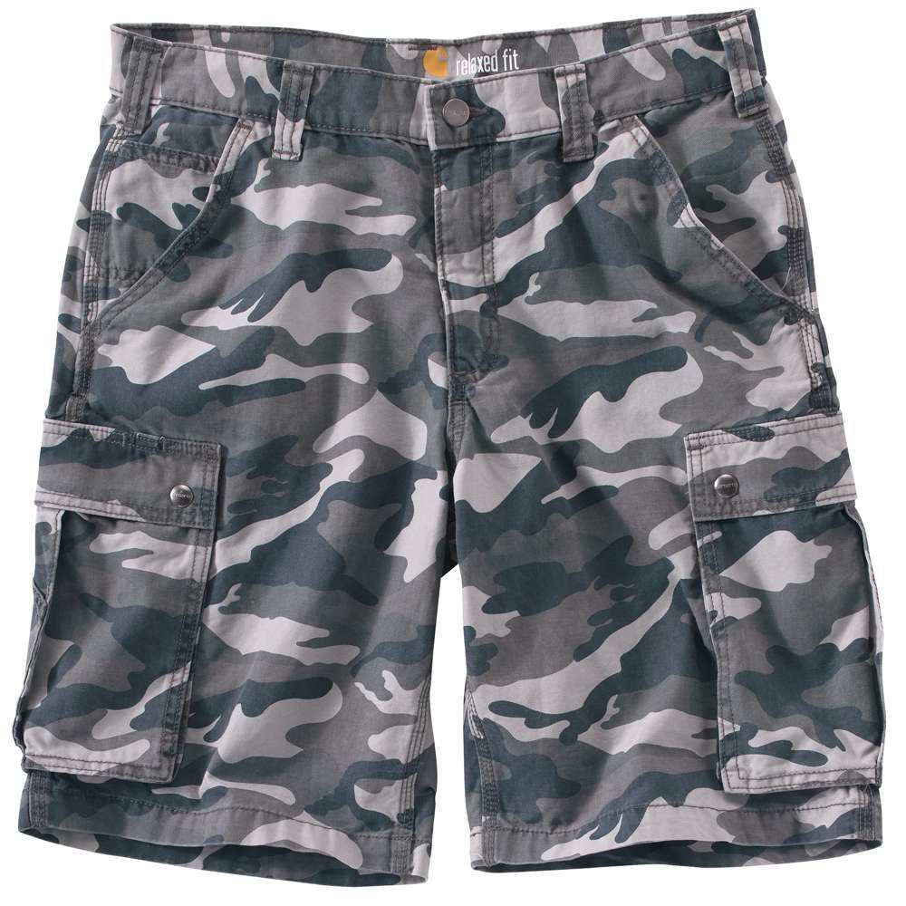 ece001a4d3 Carhartt Men's Regular 34 Rugged Gray Camo Cotton Shorts-100279-071 - The  Home Depot