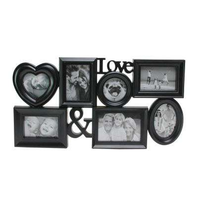 """26.5"""" Black Multi-Sized """"Love &"""" Photo Picture Frame Collage Wall Decoration"""