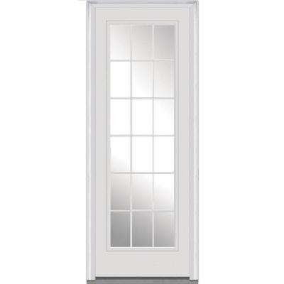 36 in. x 96 in. Clear Glass Right-Hand Full Lite 18-Lite Classic Painted Fiberglass Smooth Prehung Front Door