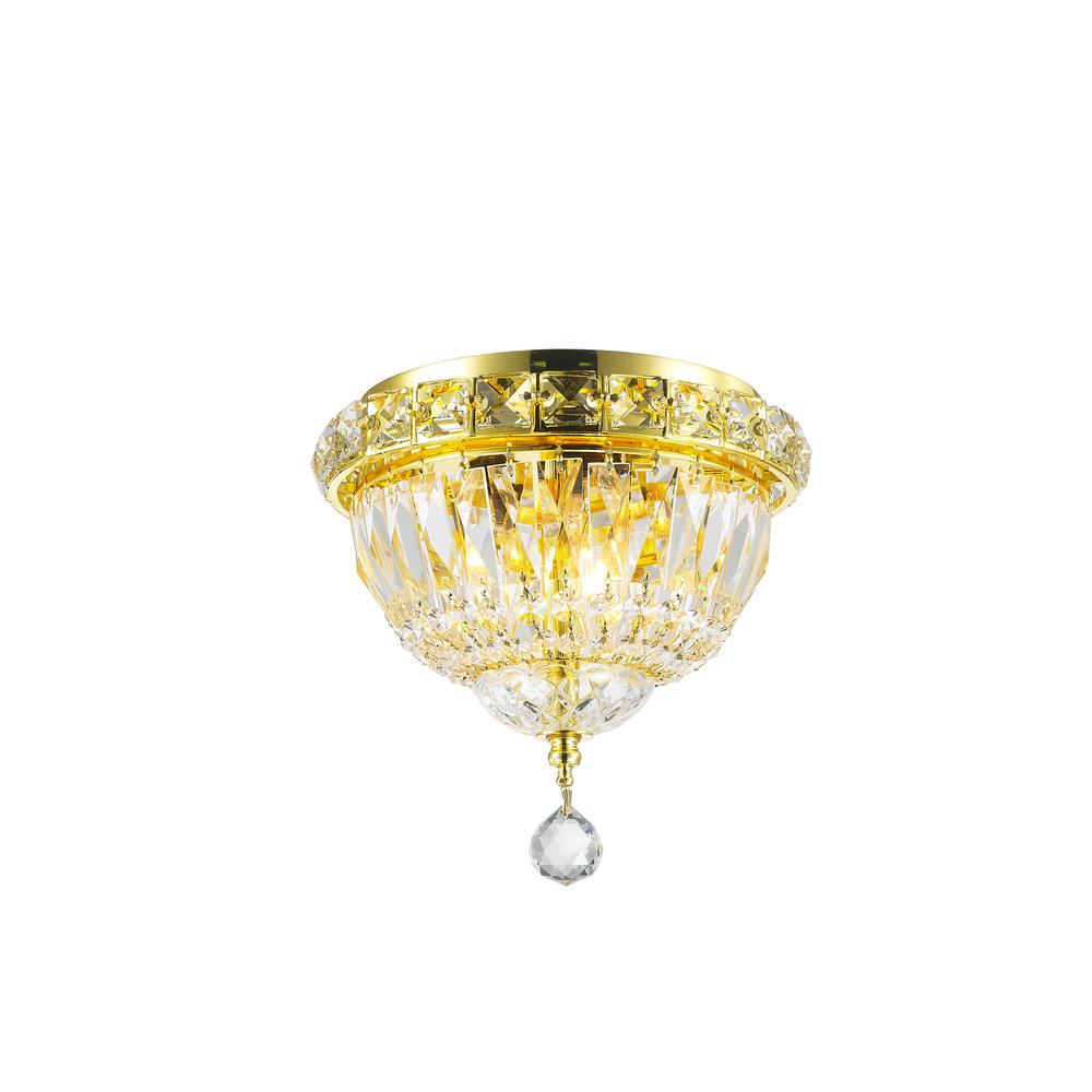 Worldwide Lighting Empire 3-Light Gold Crystal Ceiling Light by Worldwide Lighting