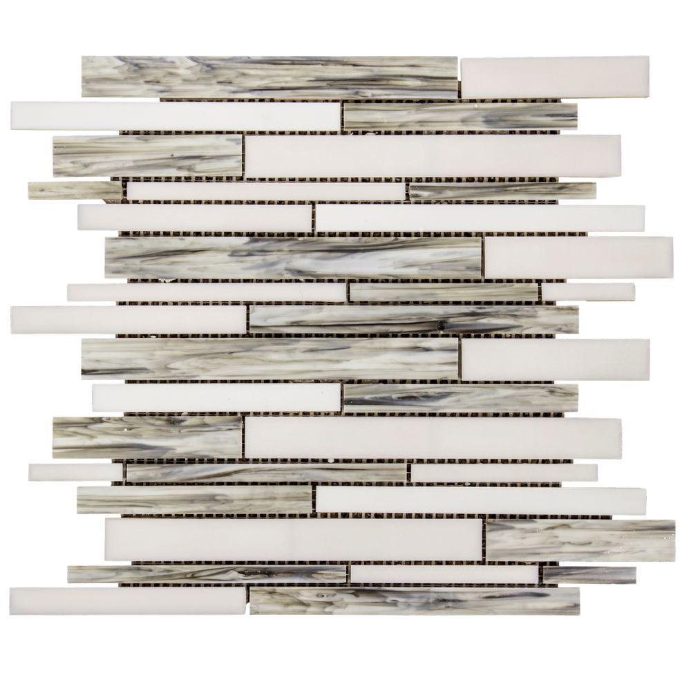 Coastal Skies Grey 11.875 in. x 11.75 in. Interlocking Glossy Glass Mosaic Tile (0.968 sq. ft./Each)