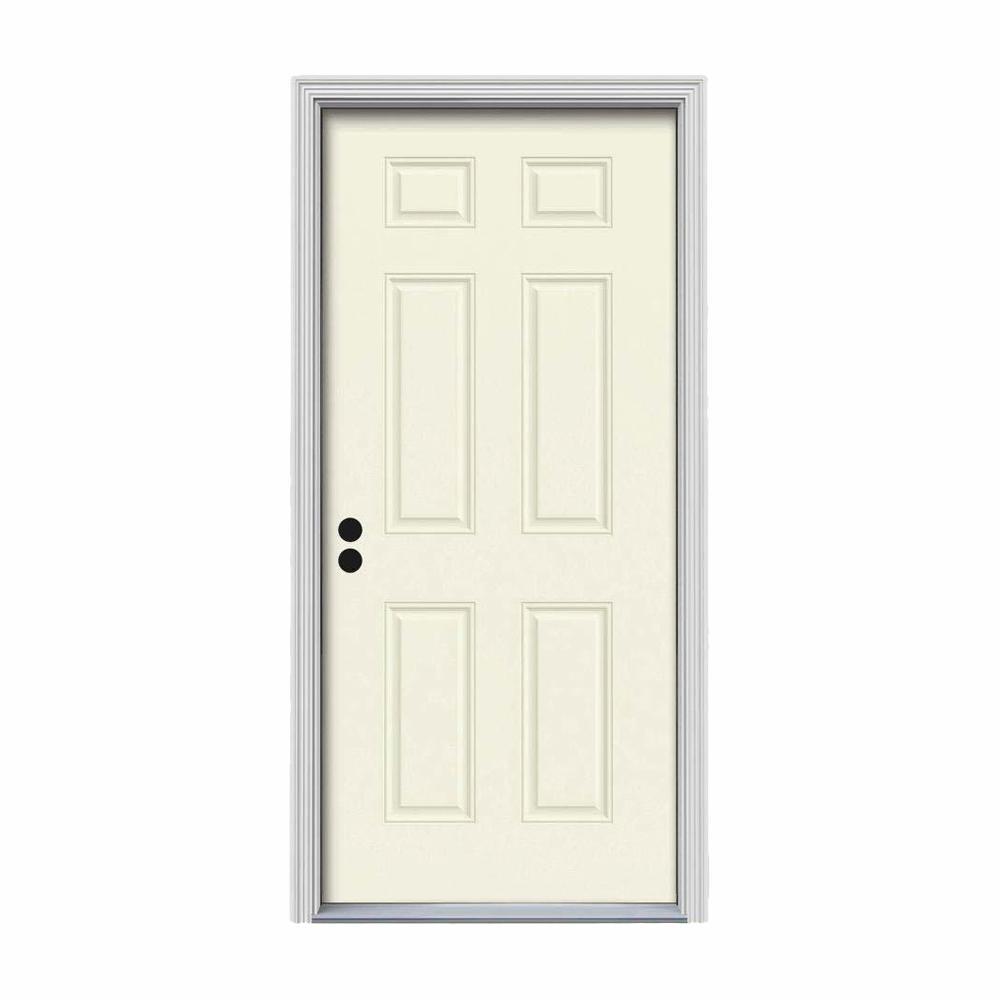 36 in. x 80 in. 6-Panel Vanilla Painted Steel Prehung Right-Hand Inswing Front Door w/Brickmould